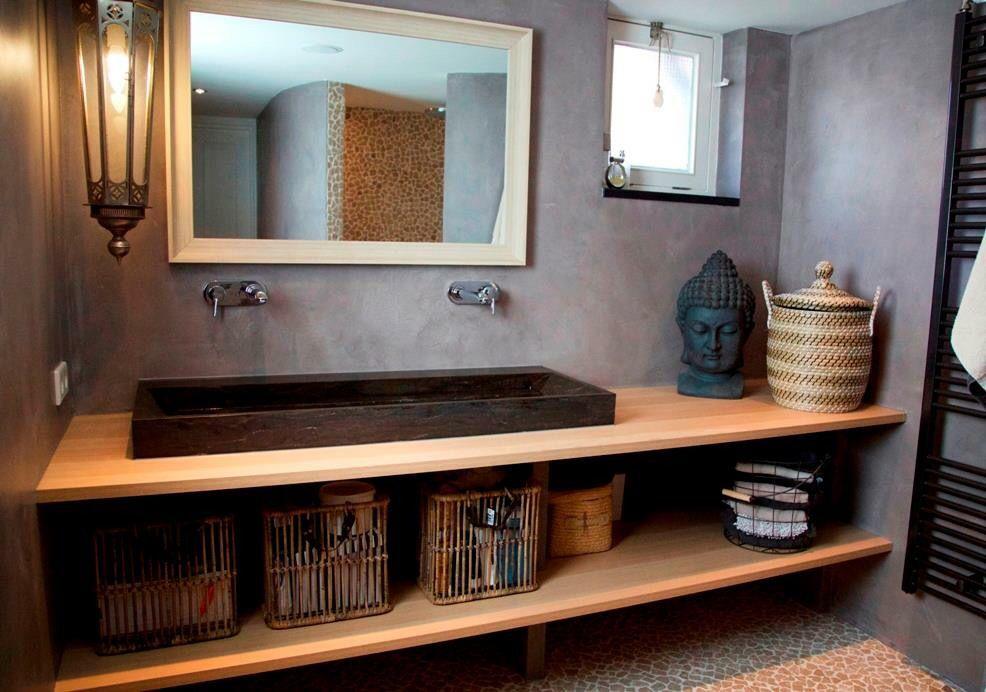 Stoere badkamer met beton look en kiezel motief. | Bathrooms | Pinterest