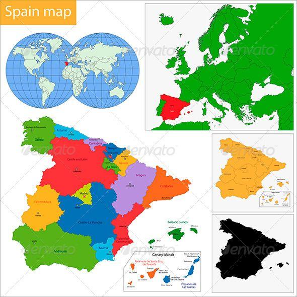 Map Of Spain Vector Free.Spain Map Graphicriver Vectors Map Vector Map Of Spain Map