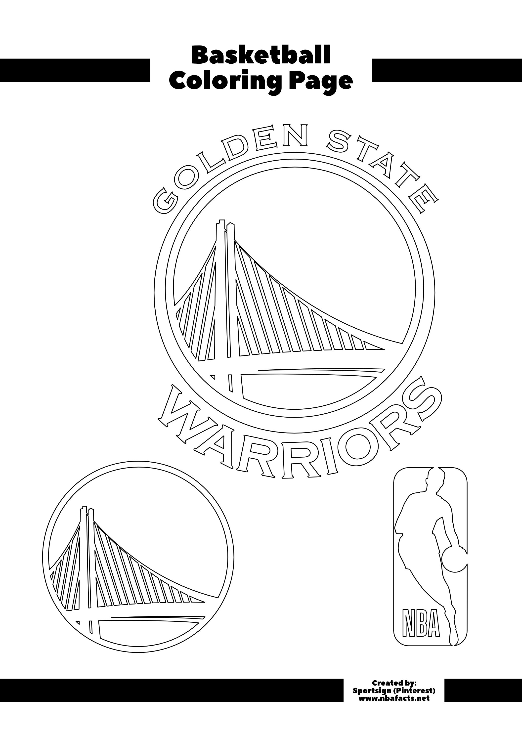 Golden State Warriors Free Coloring Page in 2020 ...