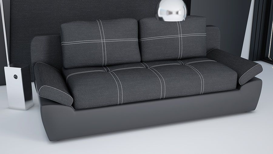 Canap convertible en pu et tissu noirs jakarta canap design canap contemporain canap for Sofa contemporain design