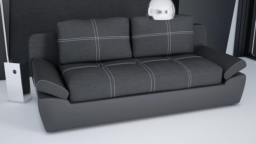 canap convertible en pu et tissu noirs jakarta canap. Black Bedroom Furniture Sets. Home Design Ideas
