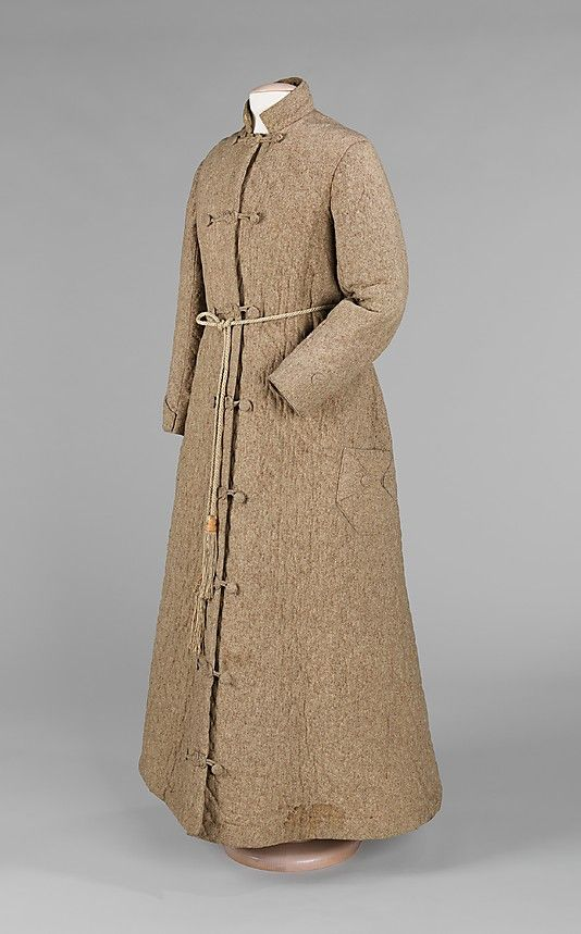 Man\'s wool dressing gown with silk lining, American, 1850-59. This ...
