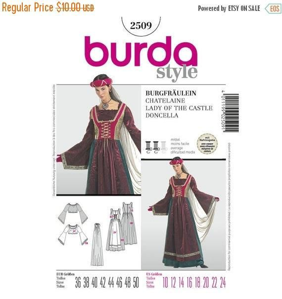 2509 Burda, Historical Costumes, Fairy, Castle Princess, Medieval ...