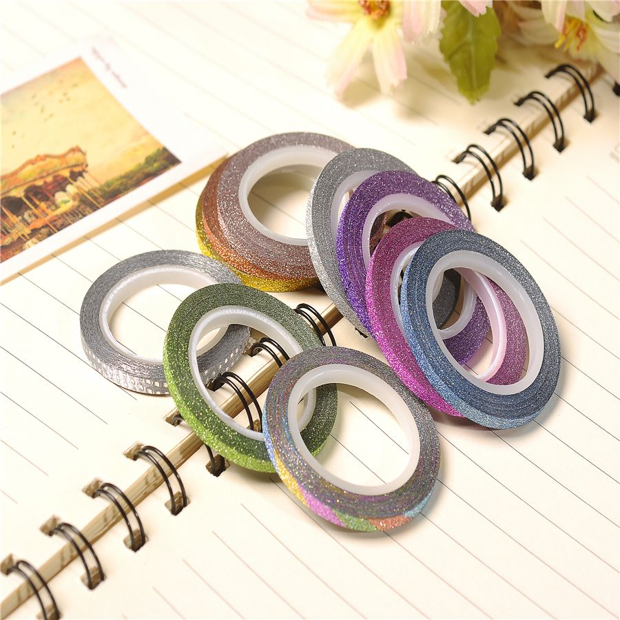Hot sale 3mm tape hair extension glitter tape decor washy