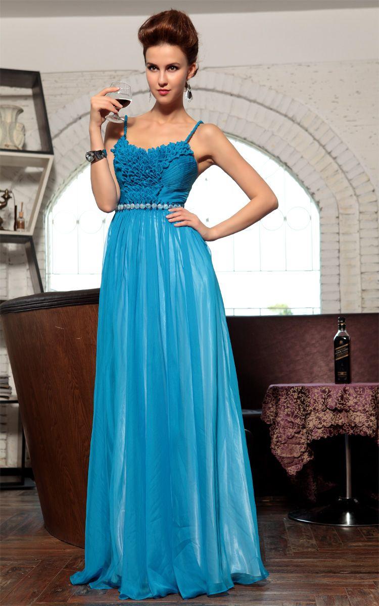 Lake Blue Chiffon Bridesmaid Ball Gown Long Evening Dress | Evening ...