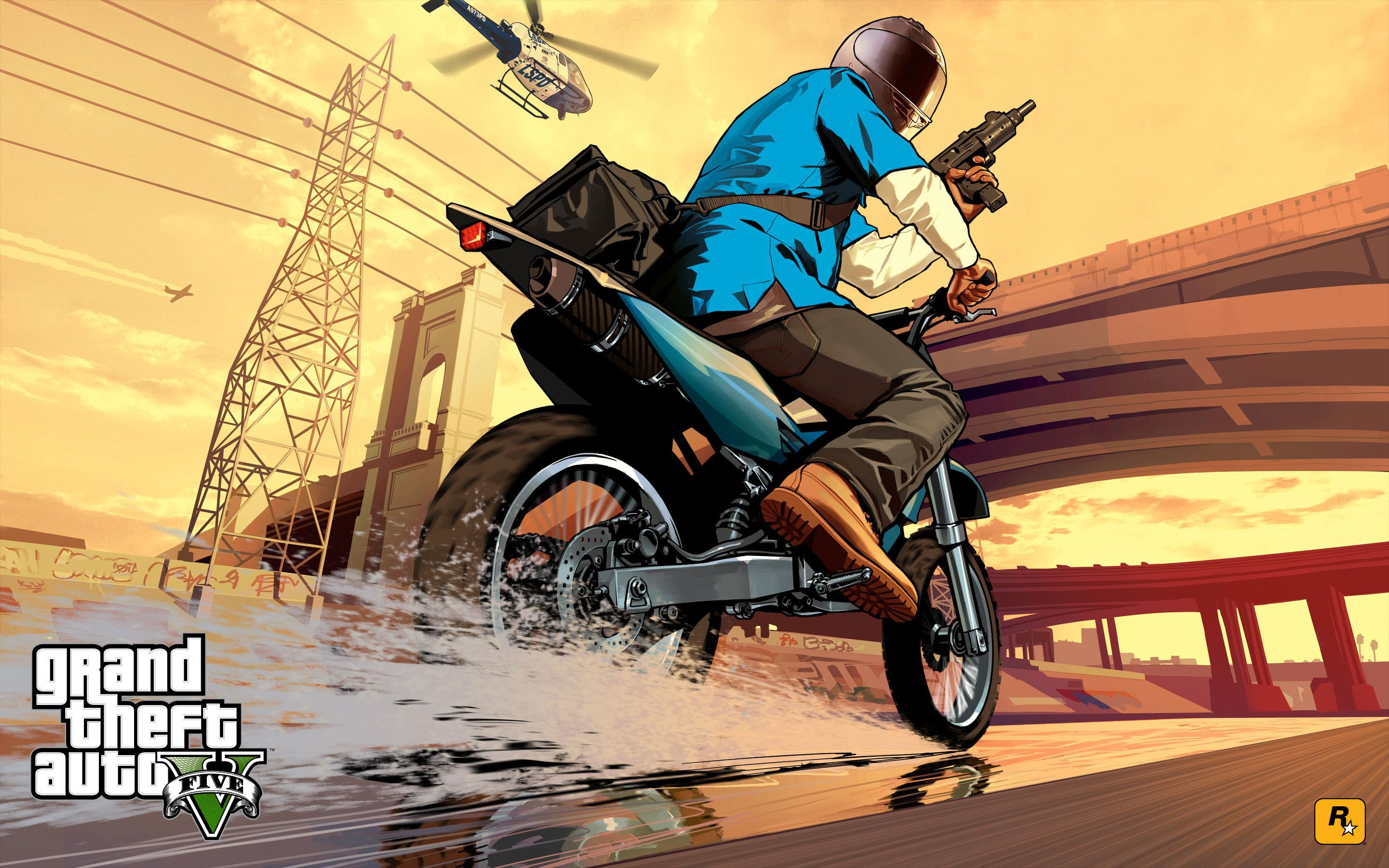 gta 5 - franklin bike chase 2880x1800 wallpaper | Другое