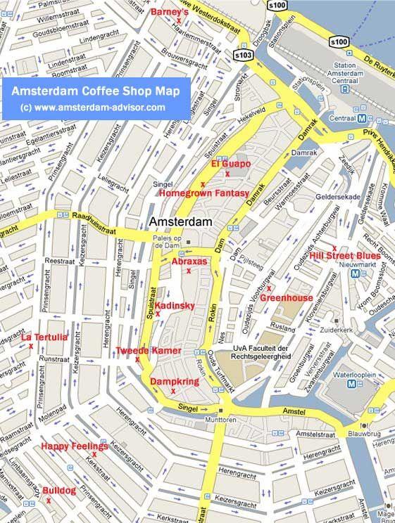 Amsterdam coffee shop map | Amsterdamage | Pinterest