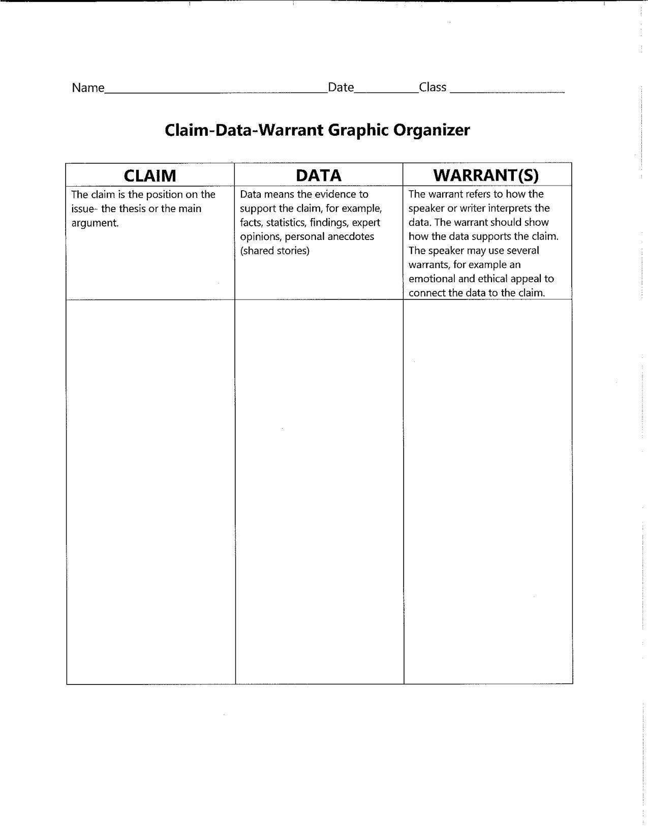 Claim Data Warrant Graphic Organizer