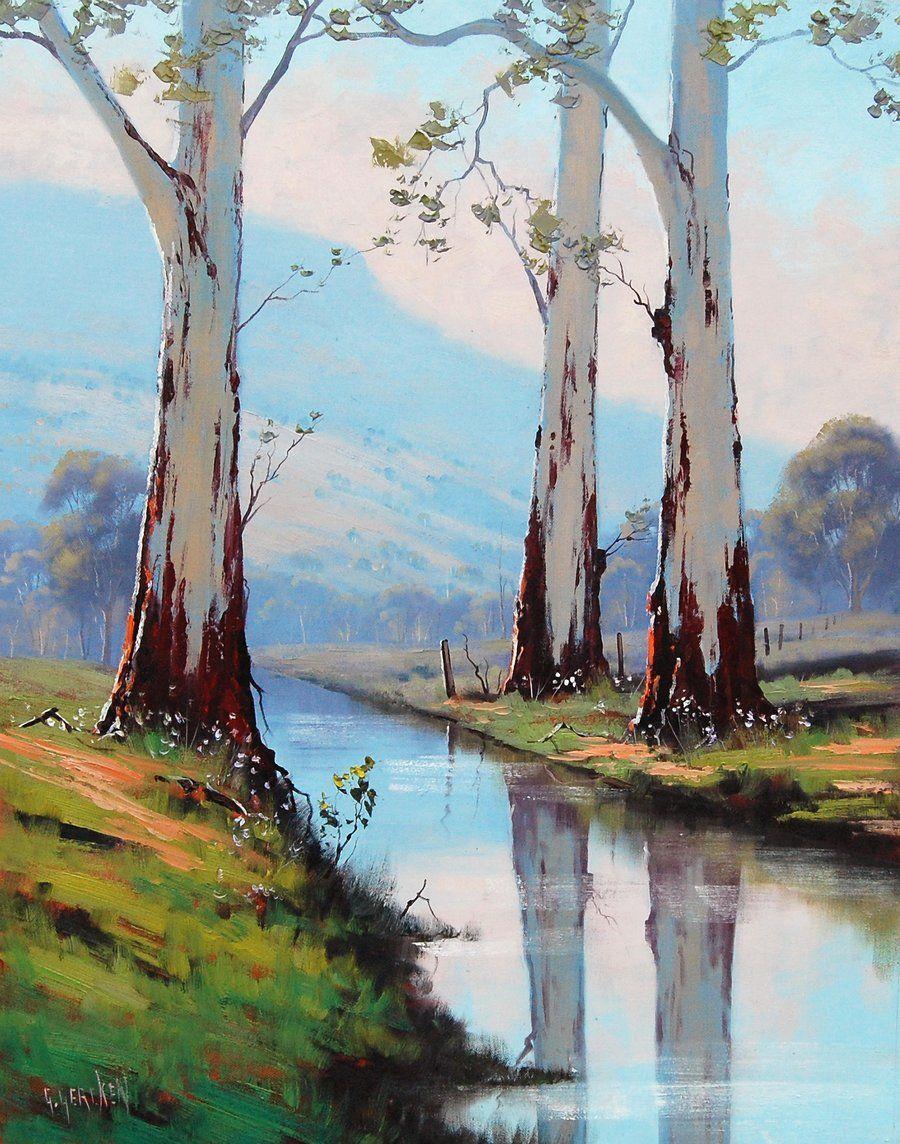 eucalyptus trees Original Oil Painting Trees landscape River ...