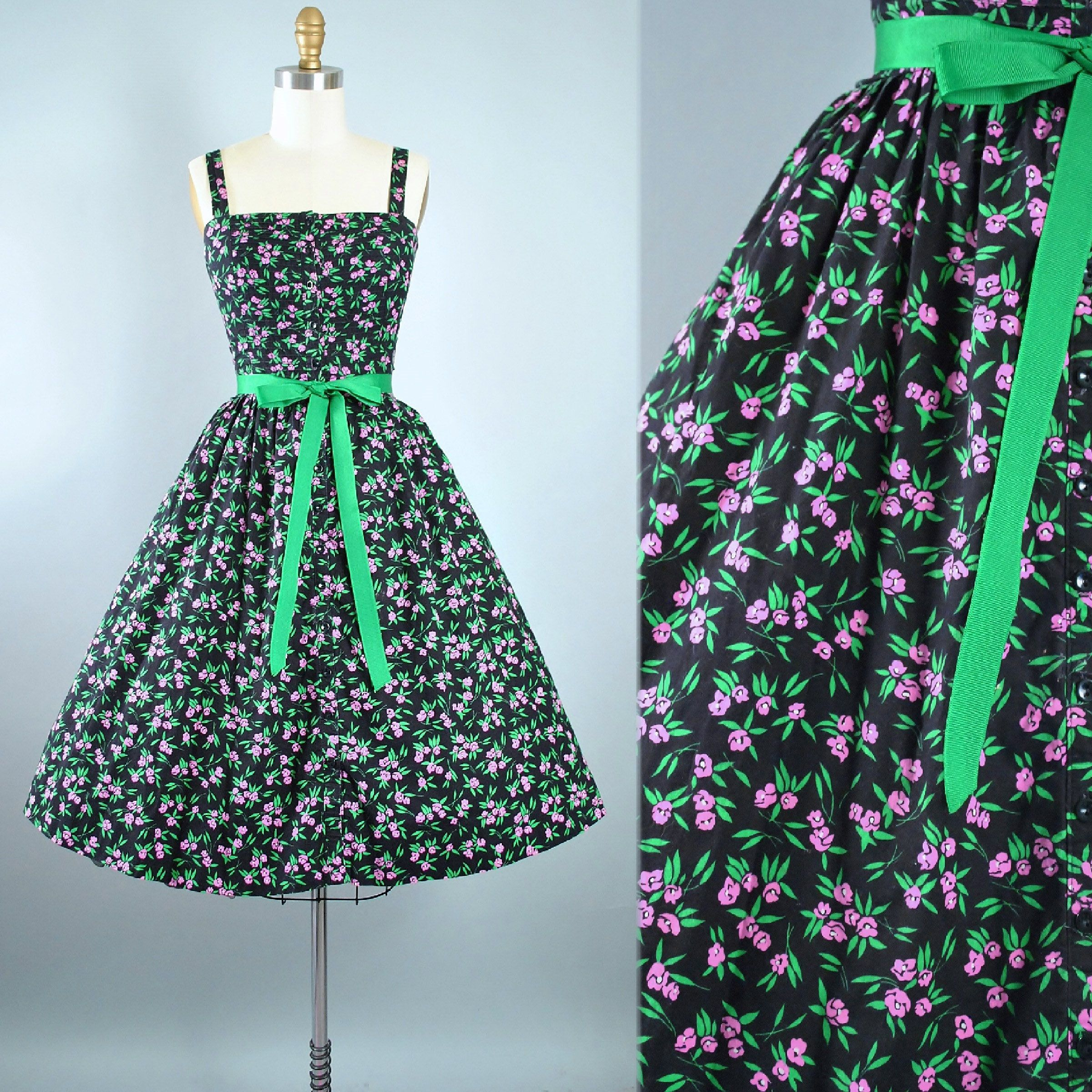 eba908b1f5e Vintage 60s 70s LANZ Dress   1950s Style Black Cotton Belted Sundress  Floral Pink Green Print Full Skirt Garden Picnic Party Pinup Small by  GeronimoVintage ...