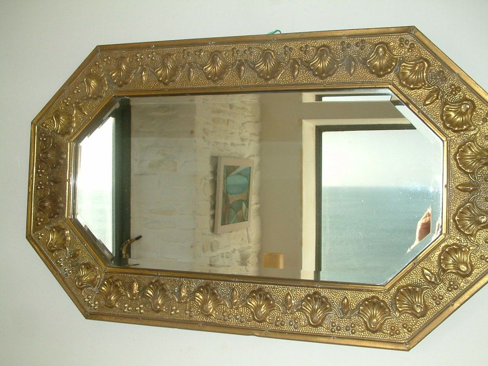Wall Art In Mirror Frame : Beautiful vintage brass framed wall mirror art nouveau