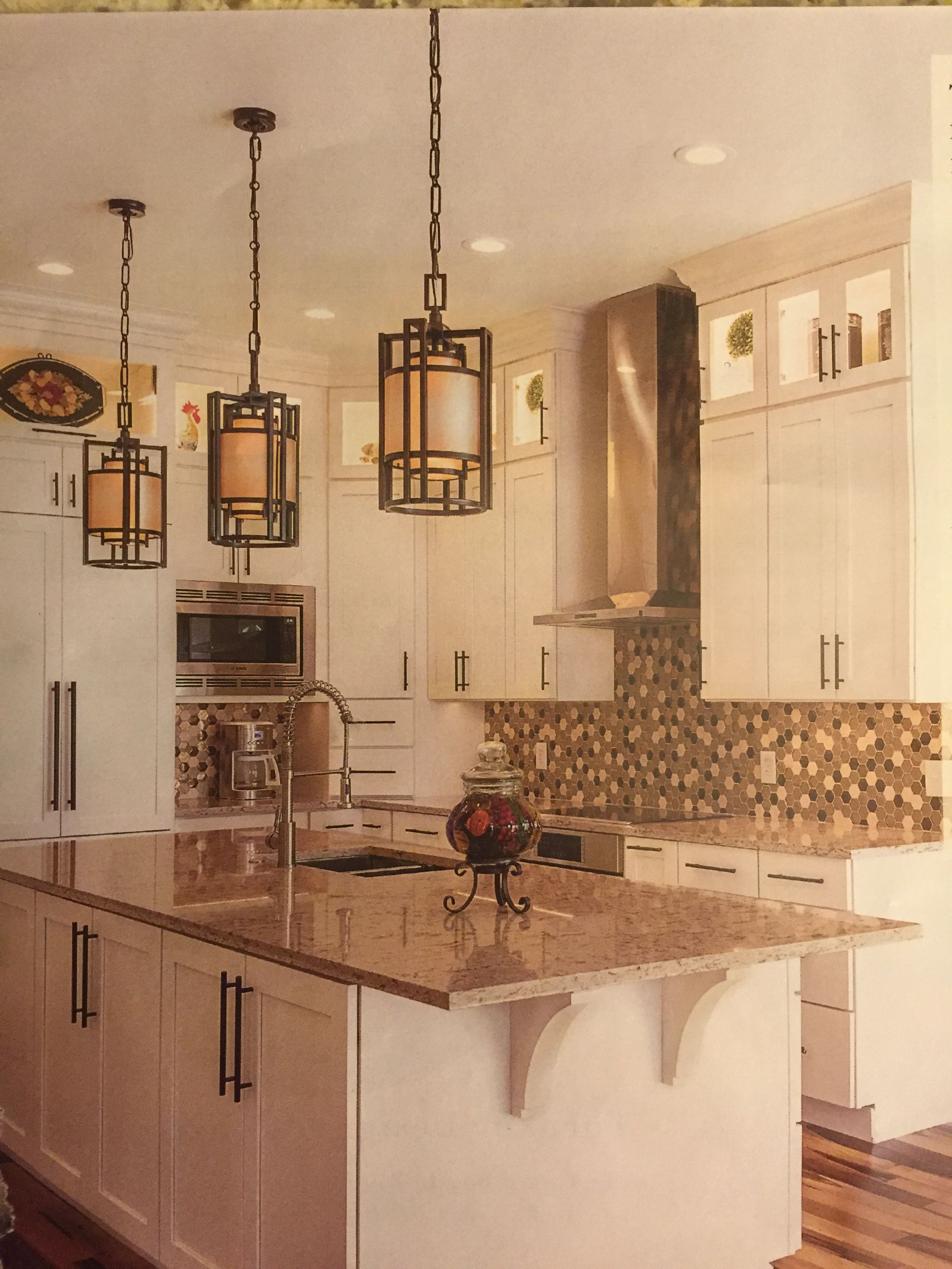 loving the hanging lights in this kitchen. | kitchen