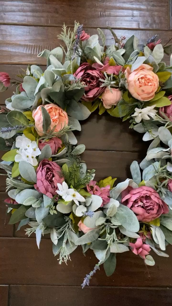 Our mixed peony wreaths create a stunning welcome. Available in the full wreath style or half wreath style