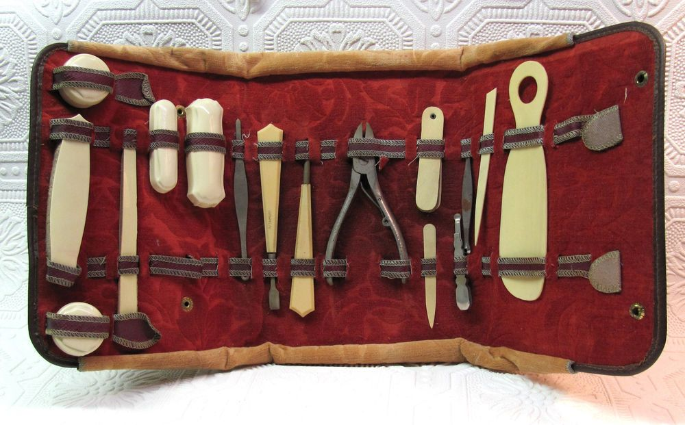 Antique 1920 S Era Manicure Set Carved Brown Leather Folding Case With Bakelite Tools