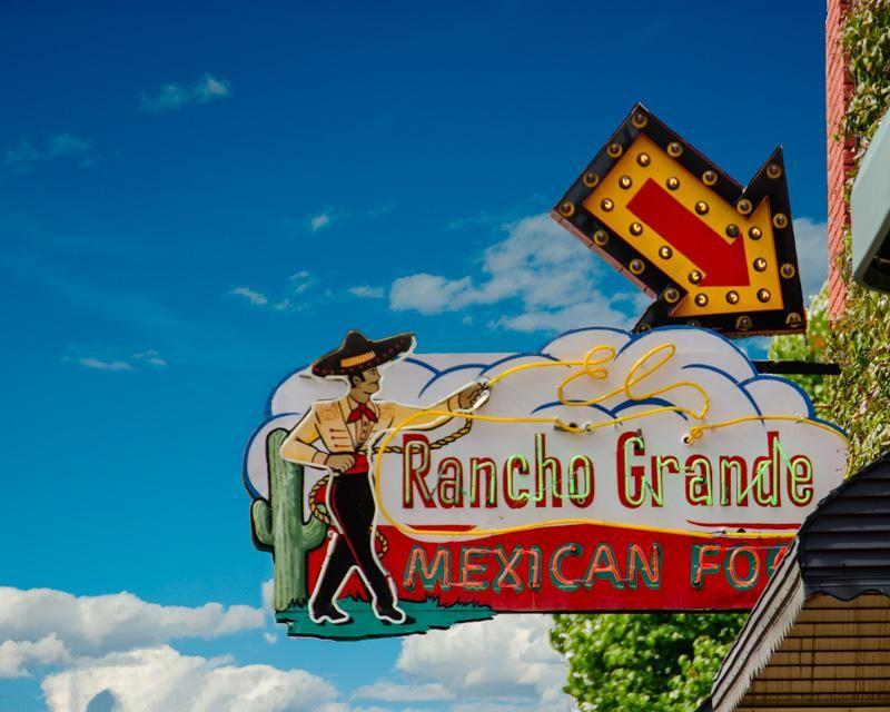 A fine art photo of the rancho grande mexican food neon