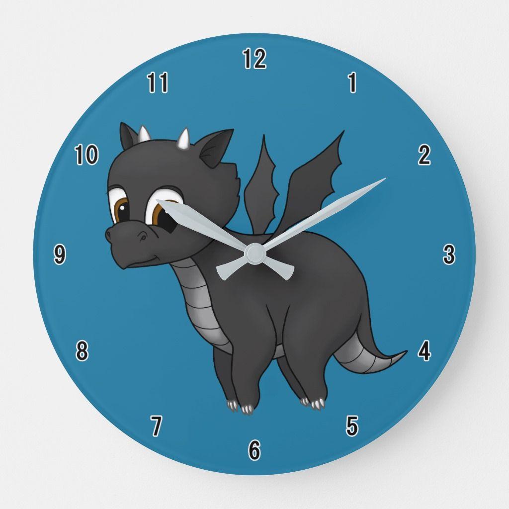 Wall Clock Kids Nursery Room Cute Little Dragon