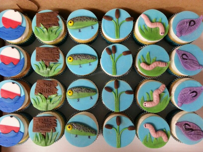 Fishing cupcakes my cakes and cupcakes pinterest for Fishing themed cake toppers