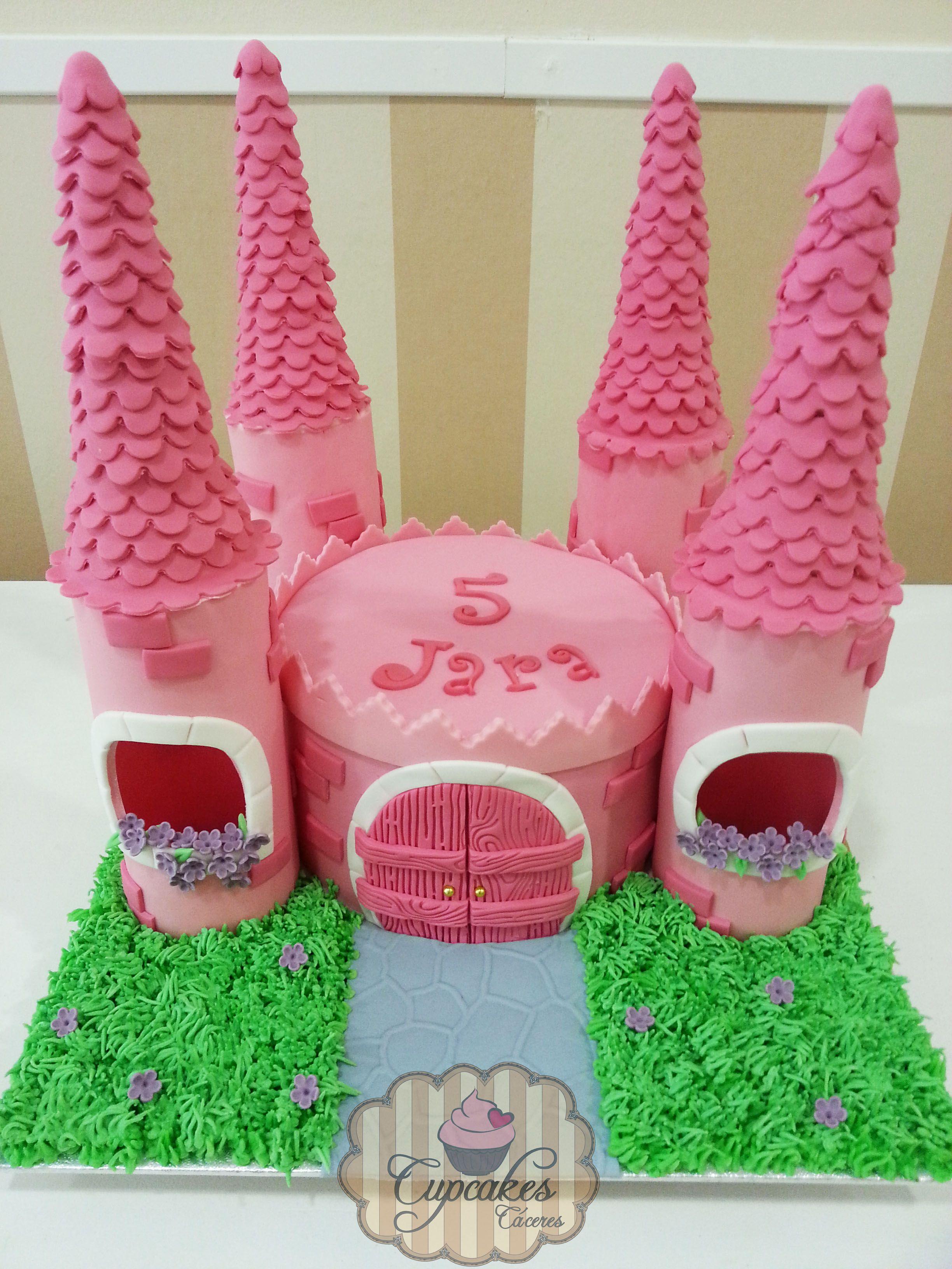 tarta fondant castillo rosa pink castle fondant cake