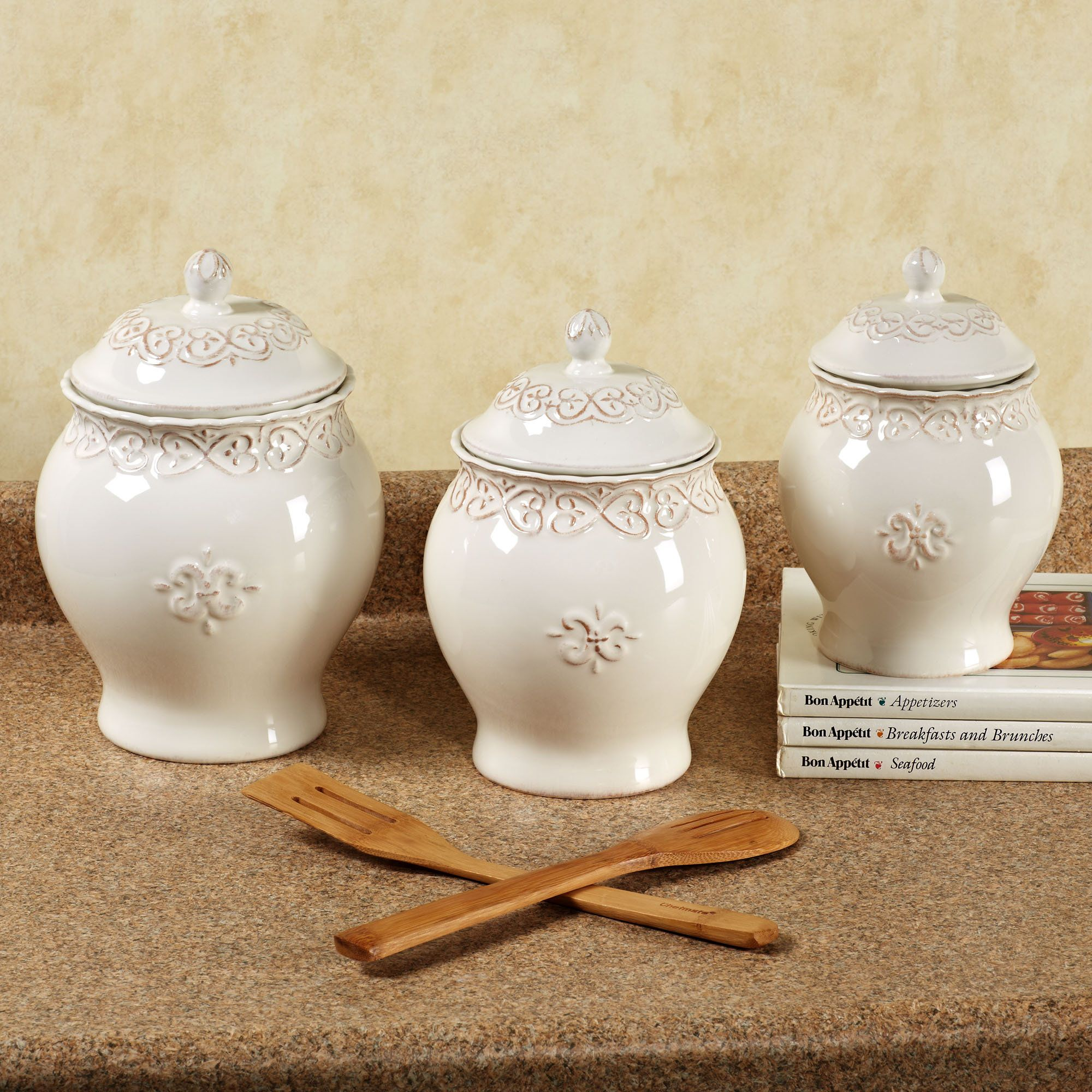 sandpiper and sea oats wall set set of two kitchen canister sets adeline ivory kitchen canister set