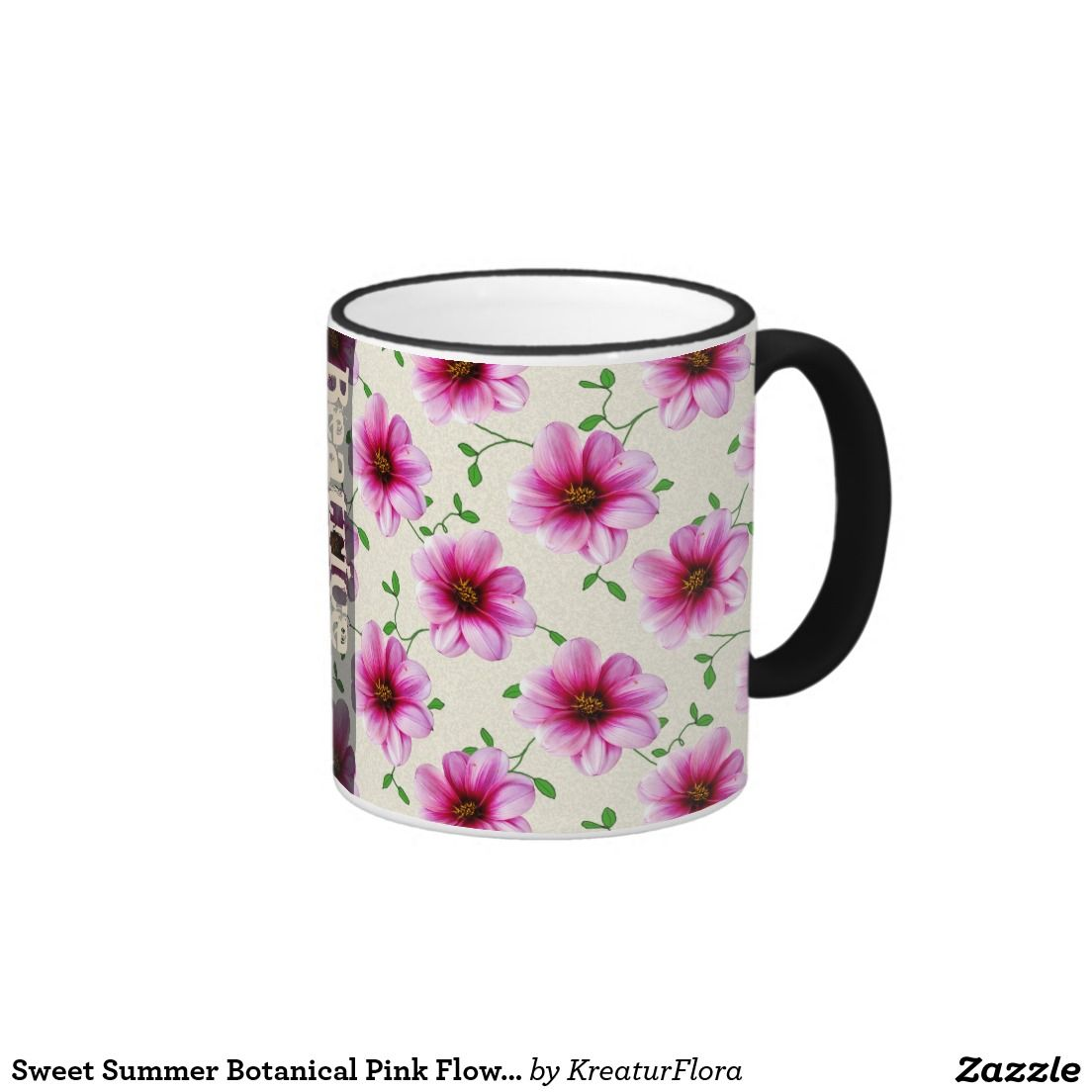 Sweet Summer Botanical Pink Flower With Name Mug