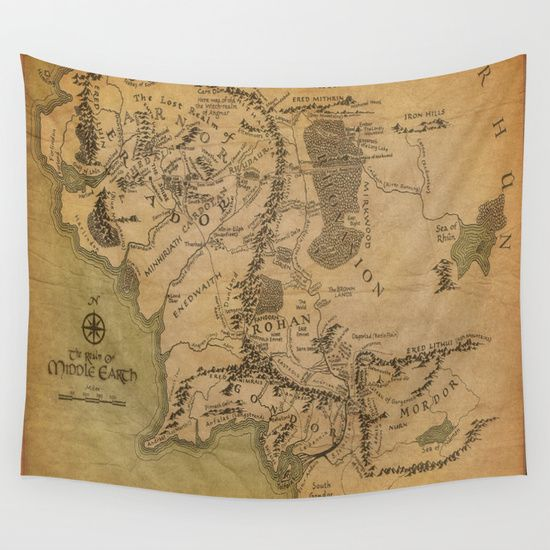 Map Of Middle Earth Wall Tapestry Tapestries Pinterest