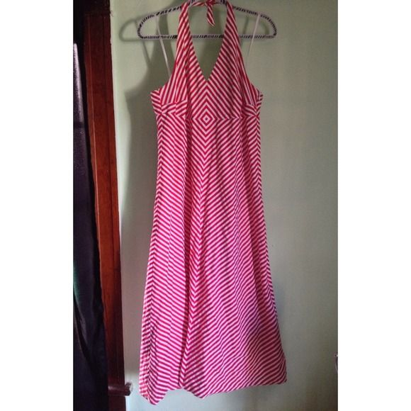 Red and white retro striped halter dress Retro looking striped halter. 100% cotton. Thick tie for support and open back. Comes about 10 inches above the ankle. Would look super cute and retro with crinoline underneath. Stripes are diagonal so it's very flattering. Liz Claiborne Dresses
