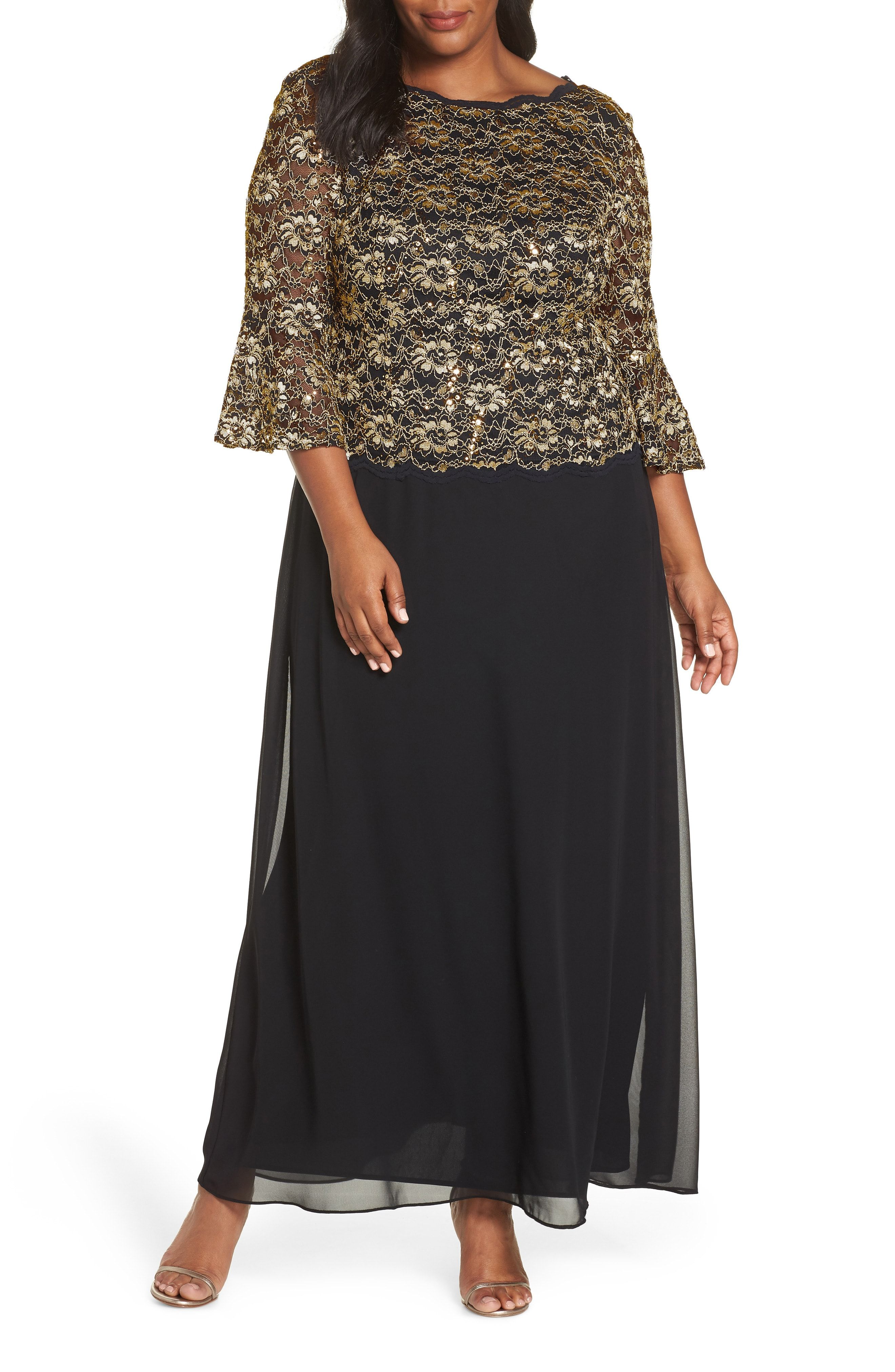 Black And Gold Plus Size Mother Of The Bride Dress With Sleeves Affiliate Weddings Mothe Mother Of The Bride Gown Mother Of The Bride Suits Gown Plus Size [ 4048 x 2640 Pixel ]