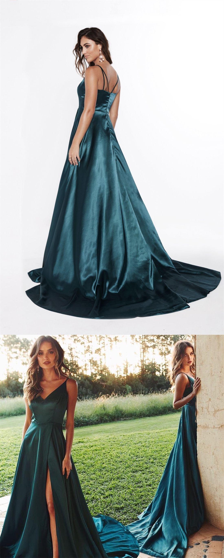 Classy evening dressvneck evening dressdark green evening dress