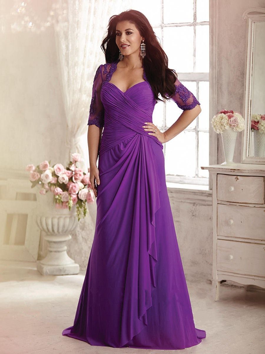 Long Purple Half Sleeves Lace and Chiffon Mother of The Bride ...