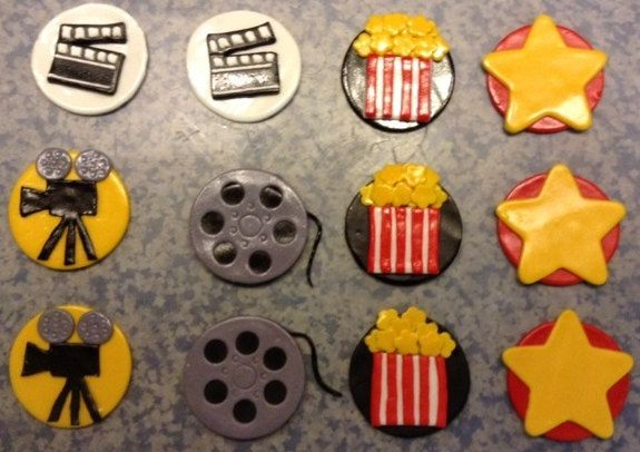 Movie Theme Party Hollywood Red Carpet Theme Party Oscar Party Cupcake Fondant Decorations/Edible Toppers by MeliciousToppers on Etsy