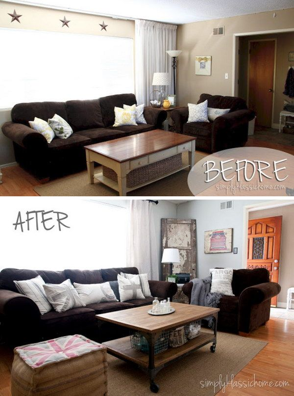 20 Awesome Before And After Living Room Makeovers 2019 Modern