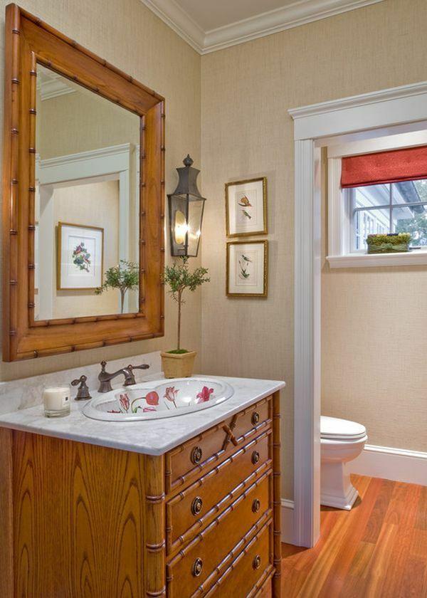 Wandspiegel Waschbecken Unterschrank Bambus Badezimmer Möbel Asiatischer  Stil