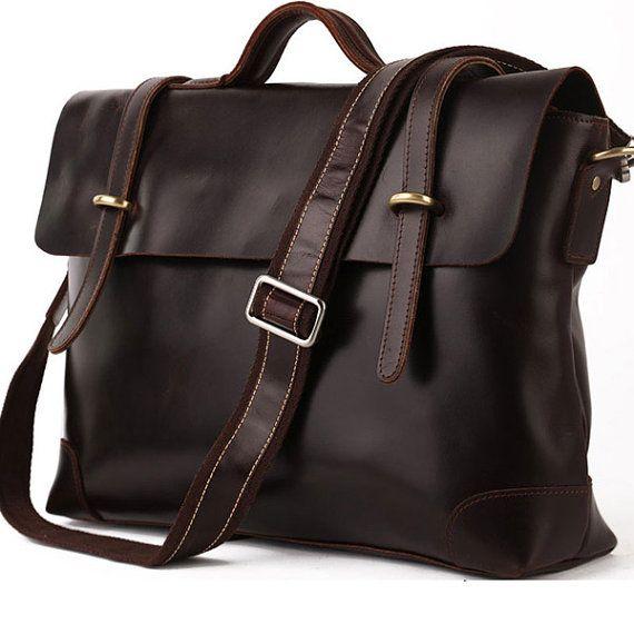 Italia Genuine Leather Briefcase / Messenger by vskydesign on Etsy, $109.99