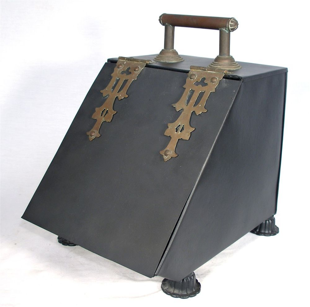 antique art crafts metal lined brass coal ash fireplace fire
