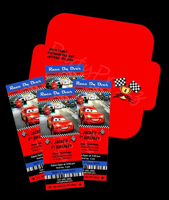 Printable Disney Cars Party Ticket Invitations Envelopes Personalized By PartyPrintzetsy