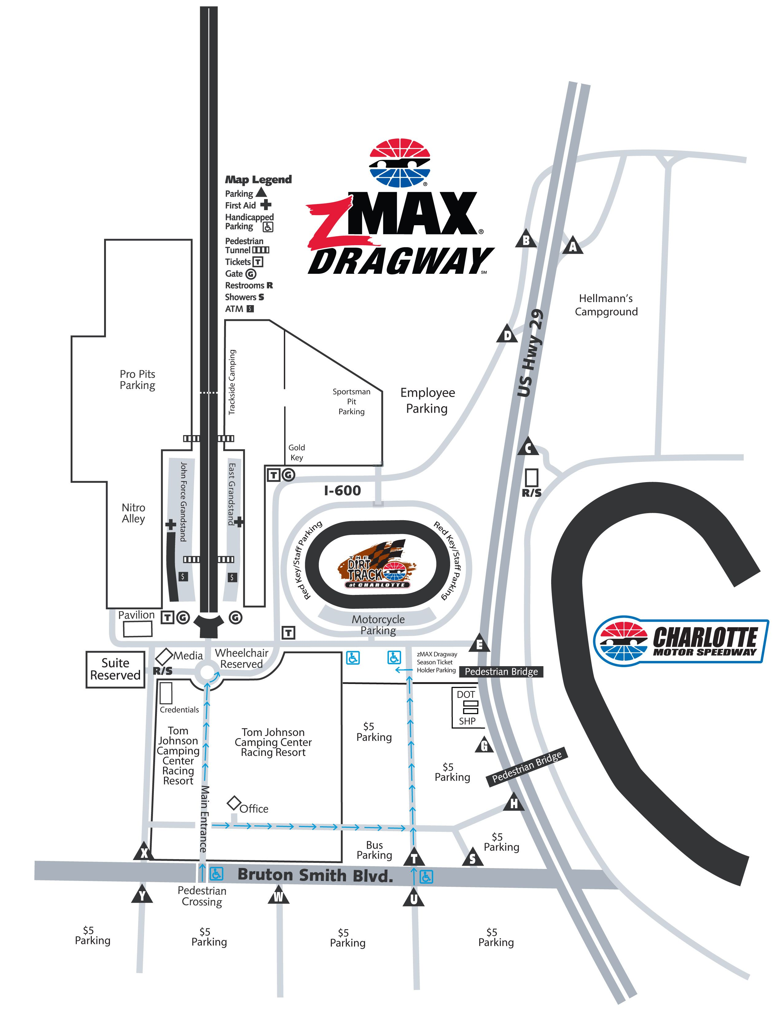 Zmax dragway parking and driving directions zmax dragway for Charlotte motor speedway drag racing