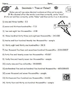 DECIMALS TRUE OR FALSE Easy To Use Challenging Do 40 Examples In All You Receive 3 Worksheets Of PLUS BONUS Questions At The End