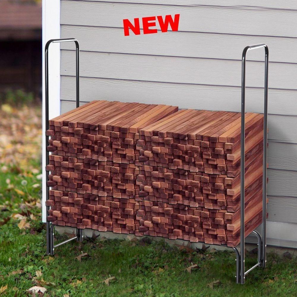 Firewood Log Rack Steel Stand Wood Fireplace Storage Space