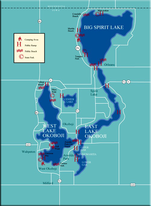 Big Spirit Lake With East And West Okoboji Favorite Places