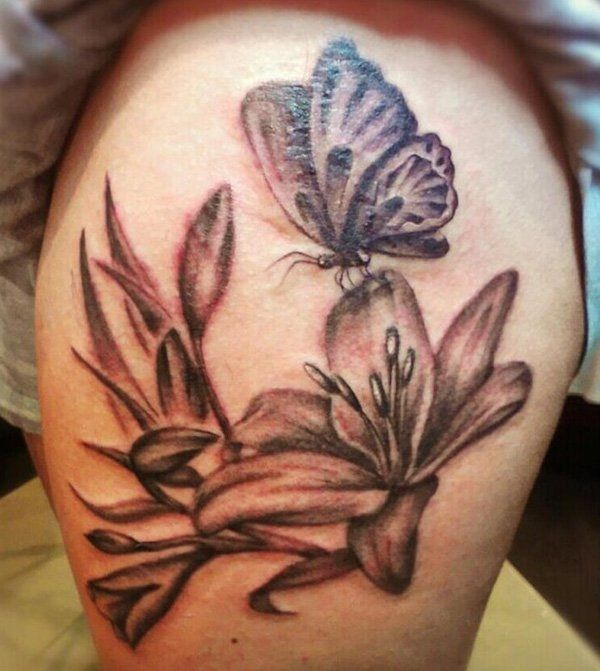 88c590edbc3e3 butterfly tattoo with flowers 33 - 50 Butterfly tattoos with flowers for  women <3 <3