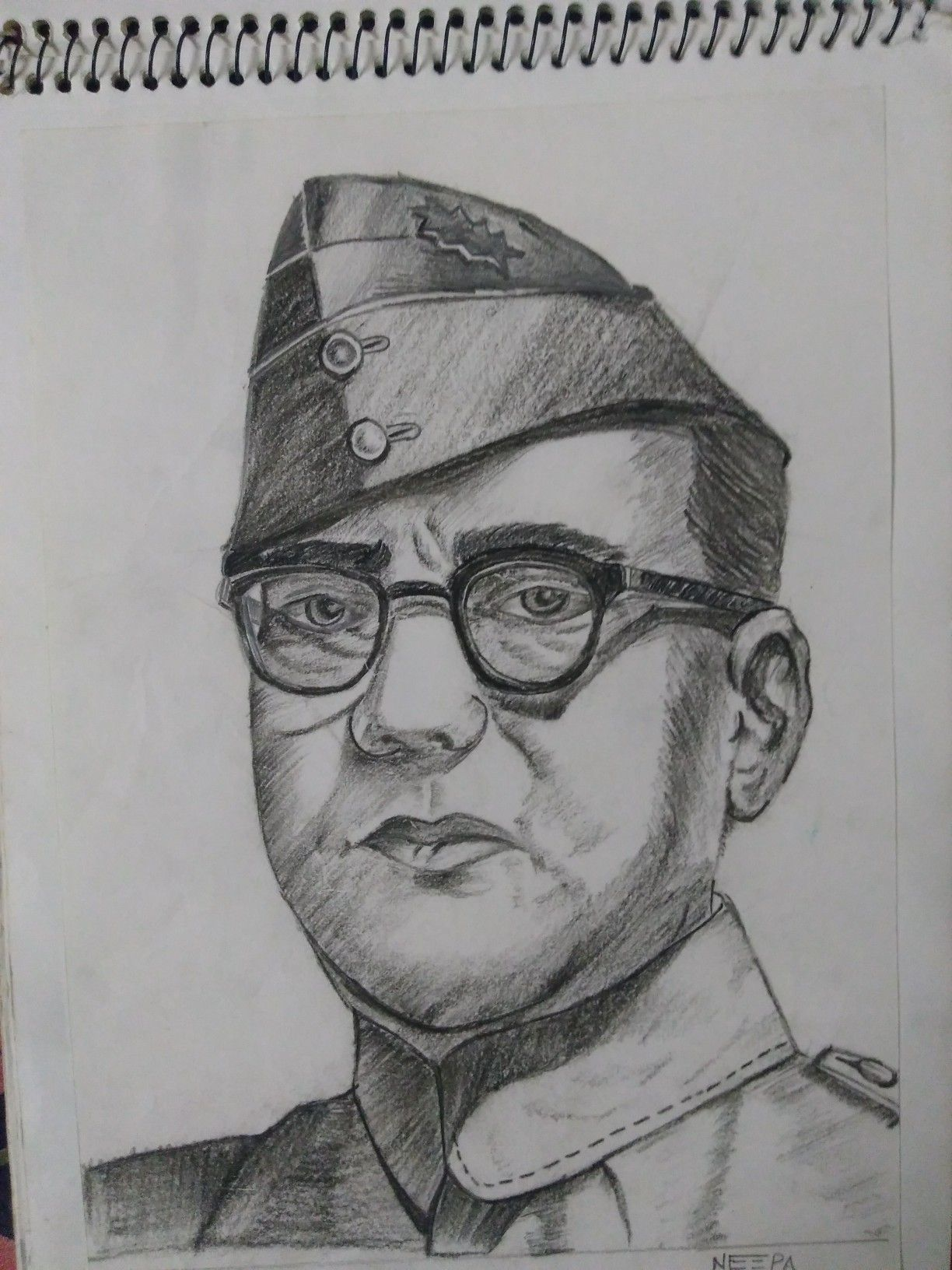Subhash chandra bose pencil sketch my creation painting n pencil