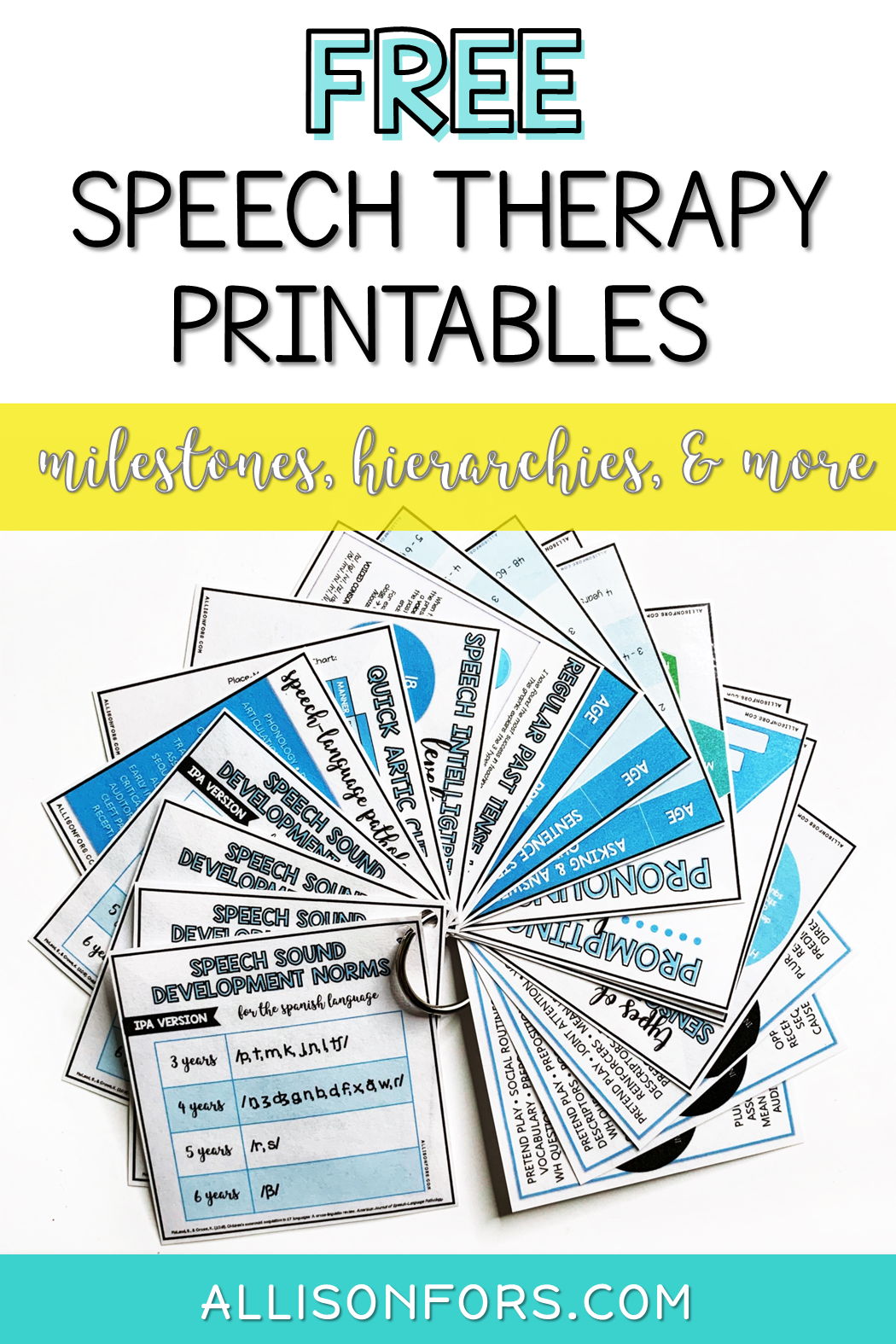 Free Speech Therapy Printables Milestones Hierarchies