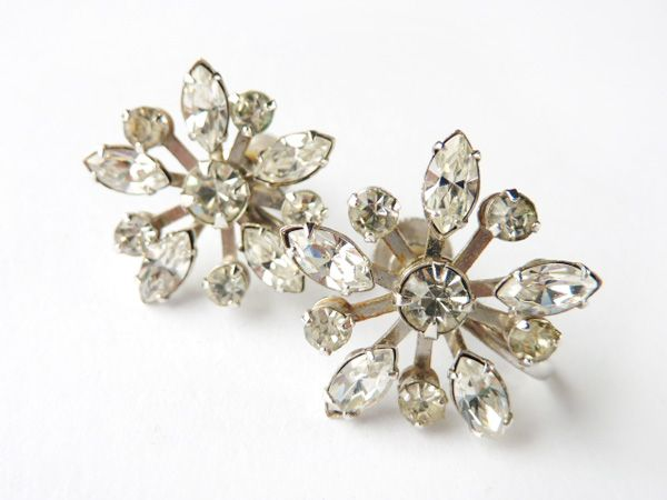 Antique Vintage 1950s Crystal Rhinestone clip on earrings estate Mid century Jewelry gold tone setting wedding 1960s