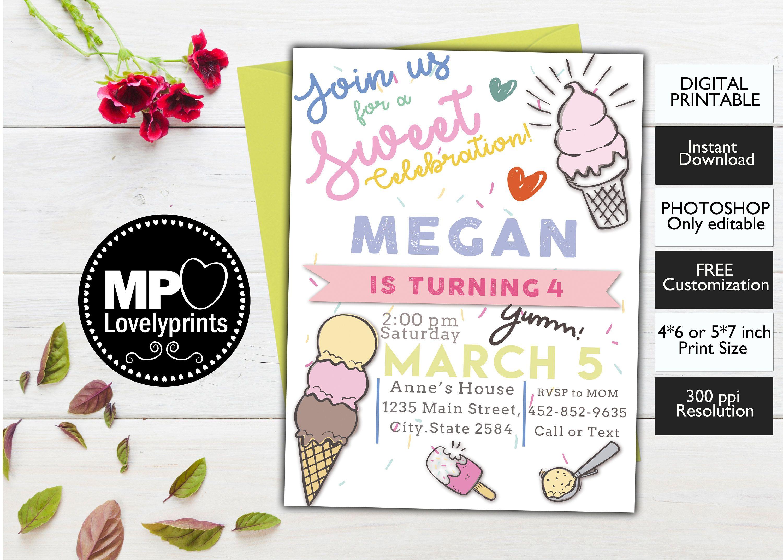 Ice Cream Invitation, Ice Cream Birthday Invitation, Ice Cream Party ...