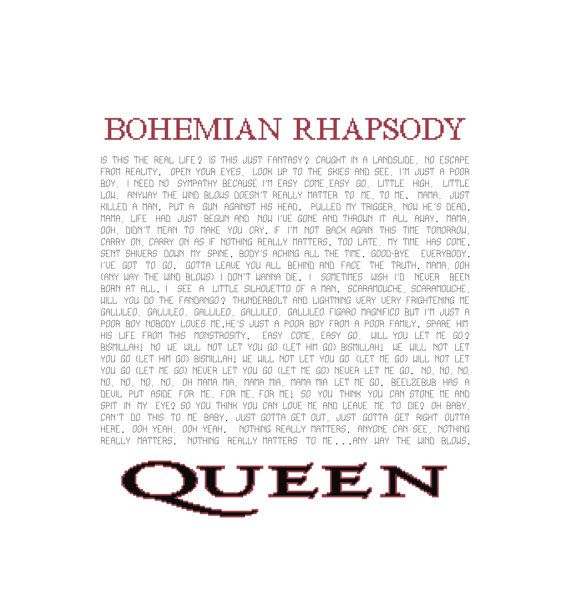 Download Song Quotes: Bohemian Rhapsody Lyrics Pattern Queen Song Cross Stitch