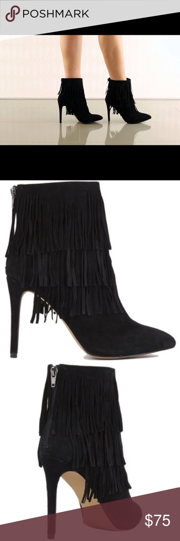 3a9c54feb89 Steve Madden Flapper Layered Suede Fringe Booties