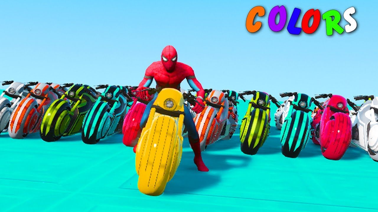 Learn Colors Motorcycle W Spiderman Cars Cartoon 3d Animation