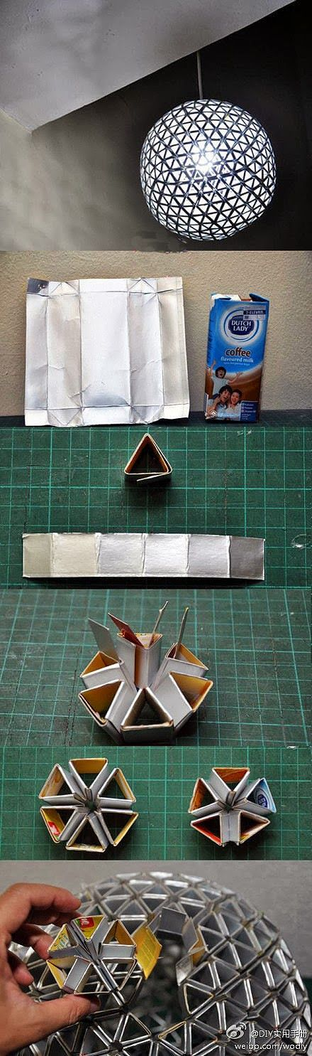 hot diy ideas how to make lampshade from milk box great ideas pinterest basteln lampen. Black Bedroom Furniture Sets. Home Design Ideas