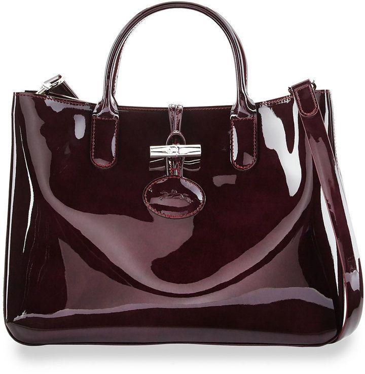 Longchamp Roseau Medium Patent Tote Bag with Strap, Black Currant ...