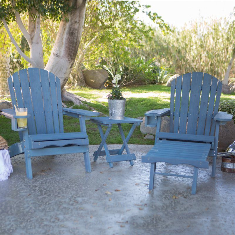 Nice Outdoor Pair Of Coral Coast Big Daddy Adirondack Chairs With Pull Out  Ottoman And Drink
